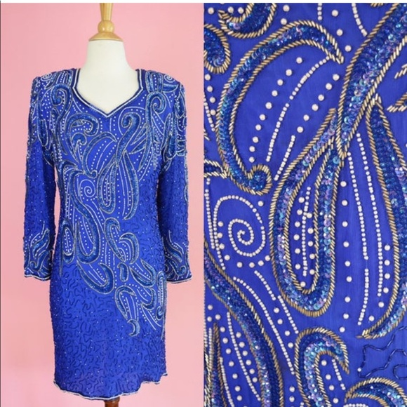 Stenay Dresses & Skirts - 💙 Vintage 90s Silk Beaded Party Dress 💙